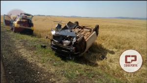 Jovem de 19 anos, perde controle do veículo e capota entre Nova Aurora e Cafelândia nesta terça-feira, 05