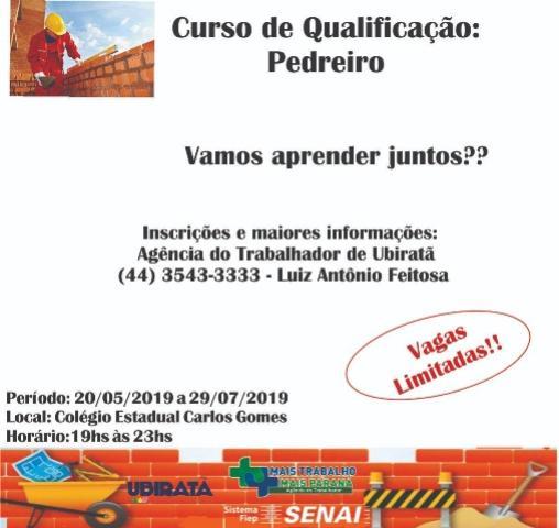 Continuam abertas inscrições para curso de qualificação para pedreiros em Ubiratã