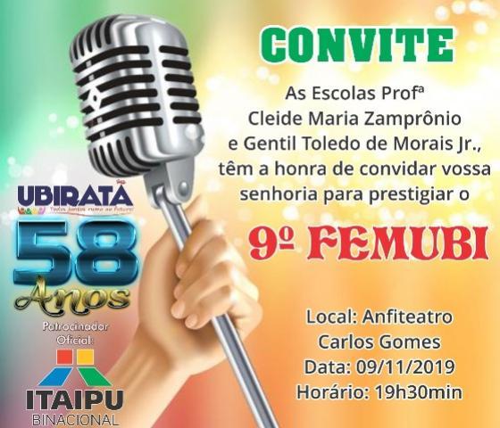 9º Festival de Música de Ubiratã acontecerá neste sábado, 09, no Anfiteatro Carlos Gomes