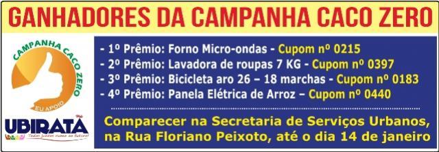 Realizado o sorteio da campanha Caco Zero em Ubiratã, confira os cupons premiados