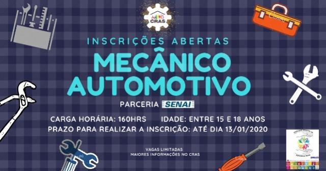 Inscrições abertas para curso de mecânico automotivo em Ubiratã