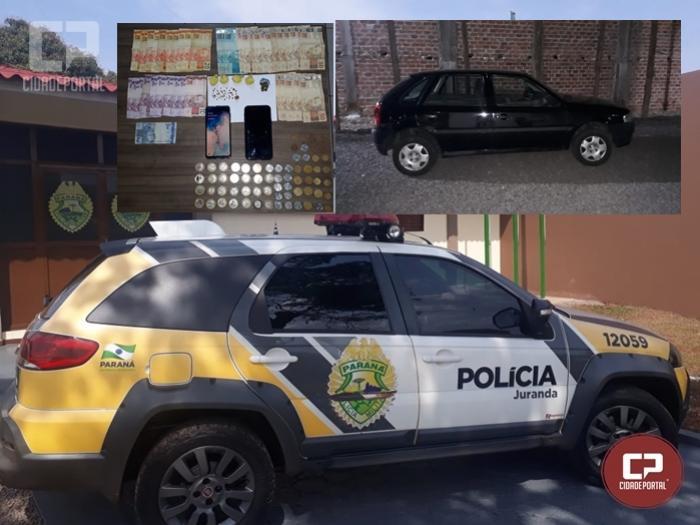 Durante patrulhamento Polícia Militar prende uma pessoa com diversas drogas e dinheiro em Juranda