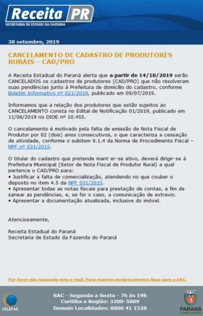 Receita Estadual solicita que produtores rurais de Ubiratã atualizem Cadastro CAD/PRO até o dia 11 de outubro