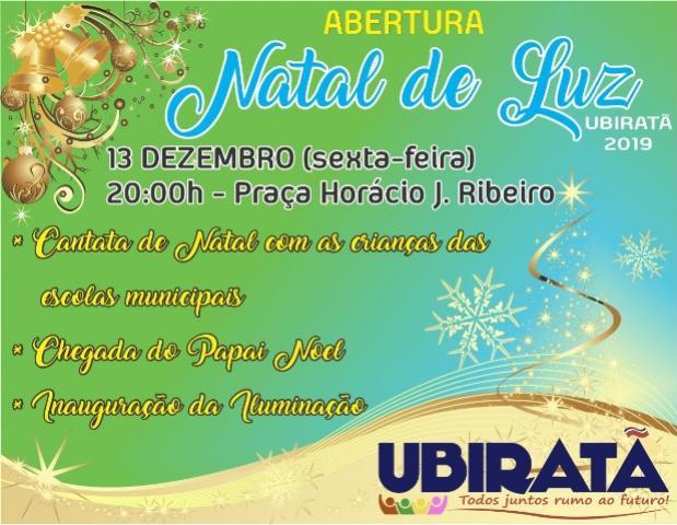 Abertura do Natal Luz de Ubiratã será nesta sexta-feira, 13 na Praça Horácio José Ribeiro