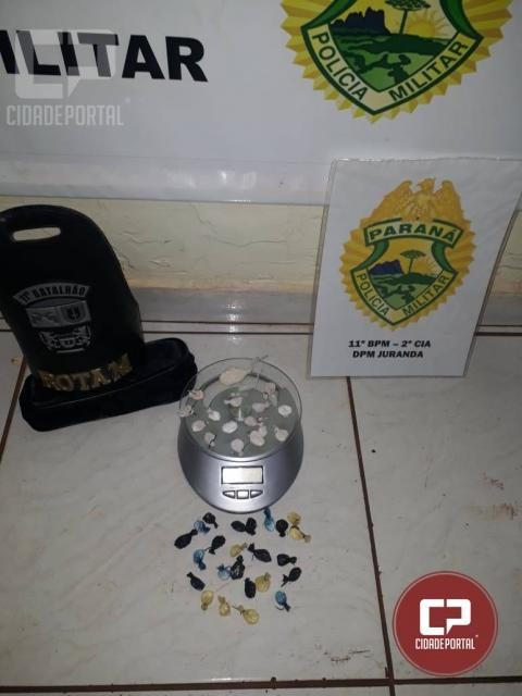 Polícia Militar prende duas pessoas acusados de tráfico de drogas em Juranda