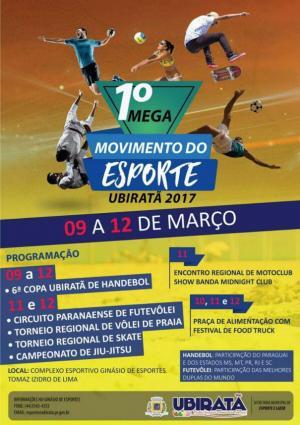 Vem aí o 1º Mega Movimento do Esporte em Ubiratã