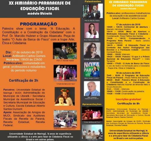 Começa nesta quinta-feira, 17, o 20º Seminário Paranaense de Educação Fiscal em Ubiratã