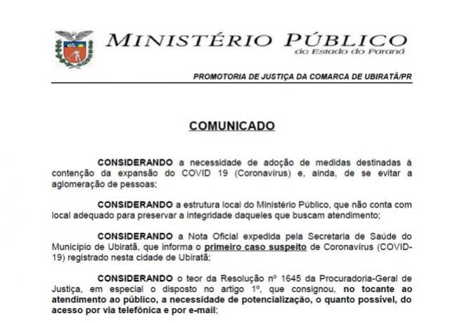 CORONAVÍRUS: Ministério Público de Ubiratã só realizará atendimento via e-mail