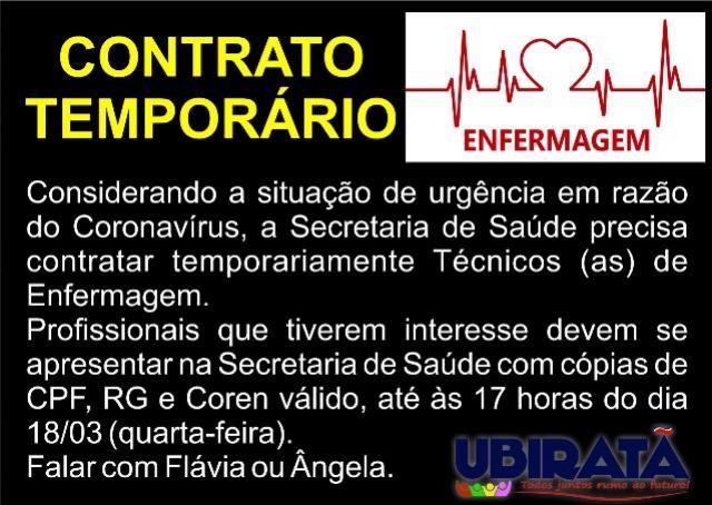 Saúde de Ubiratã está contratando temporariamente Técnicos (as) de Enfermagem