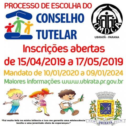 Inscrições para Eleição do Conselho Tutelar em Ubiratã terminam nesta sexta-feira, 17