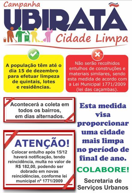 Ubiratã Cidade Limpa: munícipes têm até o dia 15 de dezembro para efetuar limpeza de quintais