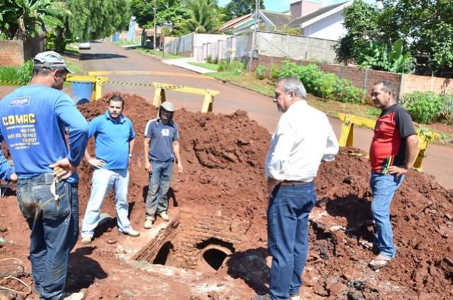 Nova galeria está sendo construída em Ubiratã para resolver problema com pavimentação asfáltica