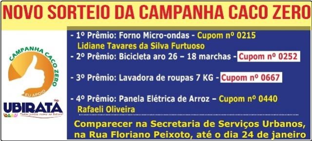 Novo sorteio da campanha Caco Zero em Ubiratã, venha conferir os cupons premiados