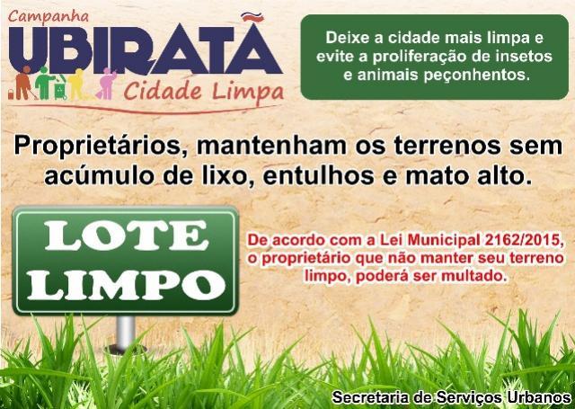 Proprietários em Ubiratã devem manter terrenos limpo