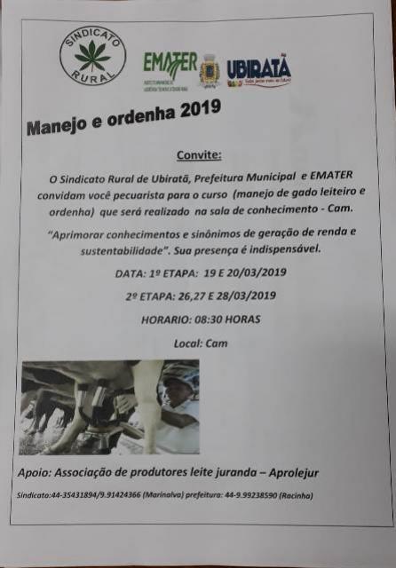 Primeira etapa do Curso de manejo e ordenha em Ubiratã terá início dia 19 de março