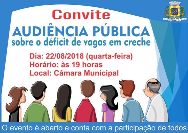 Audiência pública sobre o déficit de vagas em creche acontece nesta quarta-feira, 22 em Ubiratã