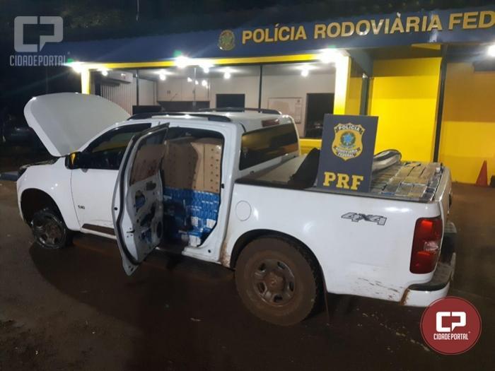 PRF apreende em Ubiratã 20 mil carteiras de cigarros contrabandeados em caminhonete roubada