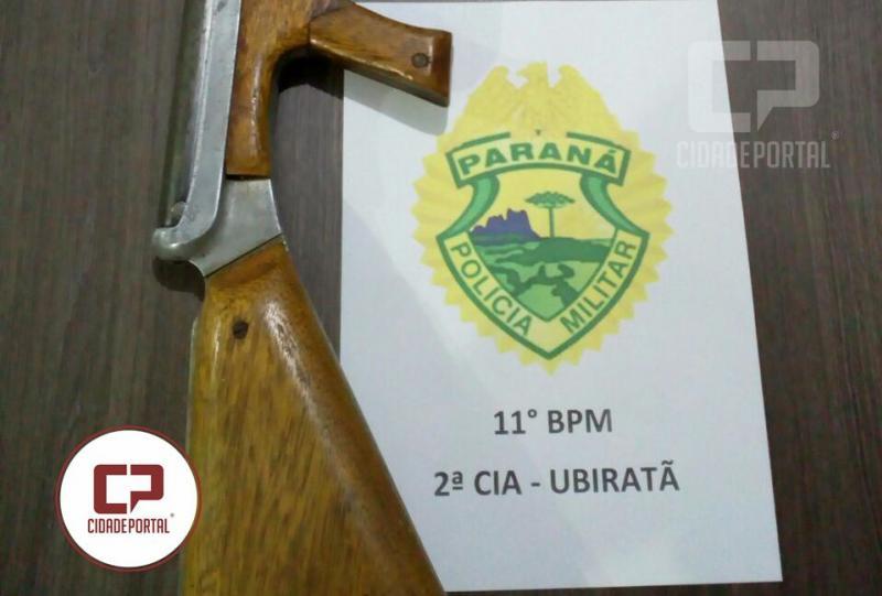 Uma espingarda de ar comprimido foi apreendida após patrulhamento da Polícia Militar em Ubiratã