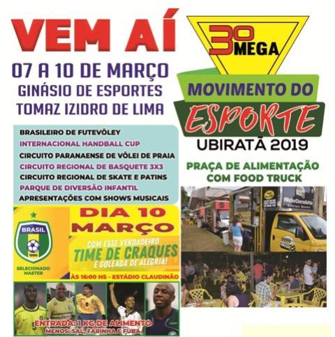 Terceira edição do Mega Movimento do Esporte promete agitar Ubiratã 58b9567d8c906