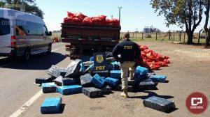 PRF descobre 2,1 toneladas de maconha sob carga de cebola em Ubiratã no Paraná