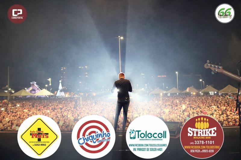 Com mais de 40 mil pessoas presentes no lago municipal de toledo, Michel Teló faz show no aniversário de 66 anos de