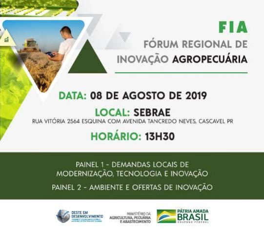 Fórum Regional de Inovação Agropecuária será realizado nesta quinta-feira, 08, em Cascavel