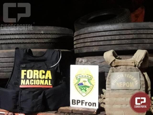 Pneus contrabandeados são apreendidos em Foz do Iguaçu - PR
