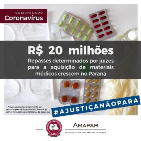 Justiça Paranaense repassa mais de vinte milhões ao combate do COVID-19