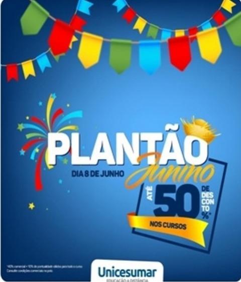 Plantão junino na Unicesumar de Goioerê neste sábado, 8