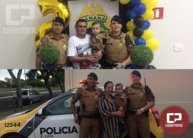 Policiais Militares de Cianorte fazem surpresa para o pequeno Lorenzo em seu aniversário