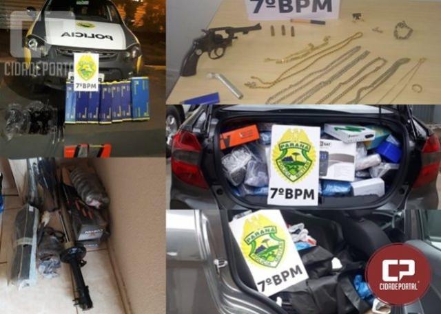 Policiais Militares do 7º BPM apreendem contrabando, arma de fogo e recuperam objetos roubados