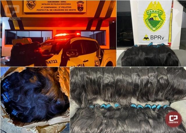 Polícia Rodoviária Estadual apreende cabelos avaliados em 130 mil em Cruzeiro do Oeste