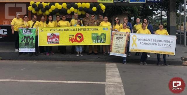 PM, CIRETRAN e alunos do projeto PM mirim realizam blitz em alusão ao maio amarelo em Terra Boa