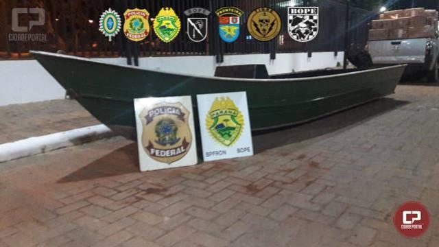 Policiais Militares apreendem embarcação preparada para contrabando em Guaíra durante Operação Hórus