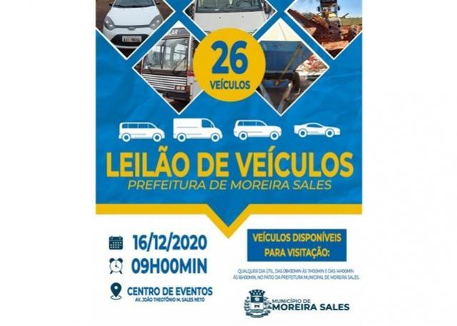 Prefeitura Municipal de Moreira Sales realizará leilão de veículos e maquinários na próxima semana