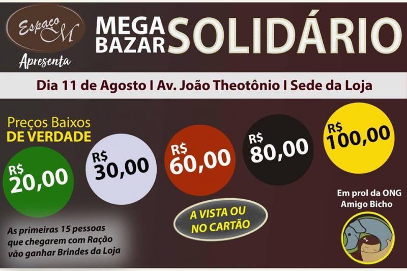 Mega Bazar Solidário em prol a ONG Amigo do Bicho é neste sábado, 11