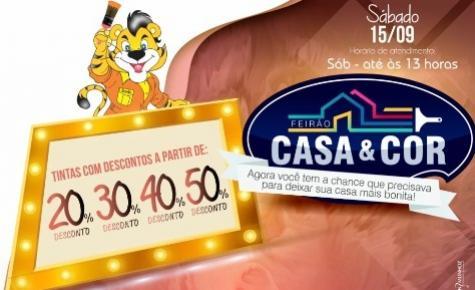 Neste sábado, 15, Feirão Casa e Cor na Tigrão Tintas com descontos de até 50% aproveite
