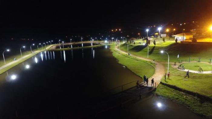 Prefeitura realiza teste da iluminação do Parque Ecológico Irineu Volpato