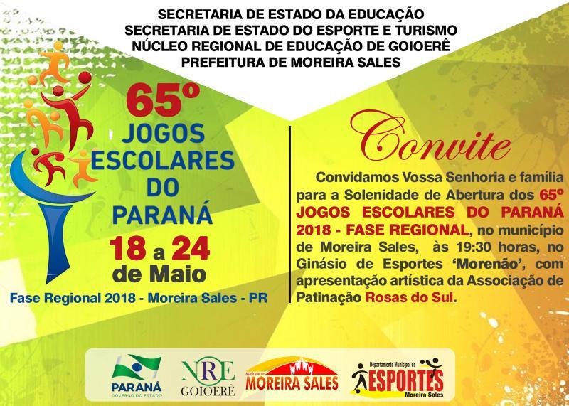 9c767c6a21 Moreira Sales sedia os 65º Jogos Escolares do Paraná nesta sexta-feira