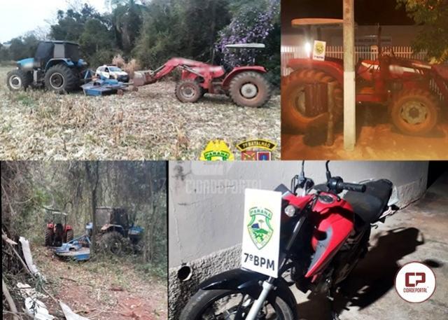Polícias Civil e Militar recuperam dois tratores e uma motocicleta em Moreira Sales