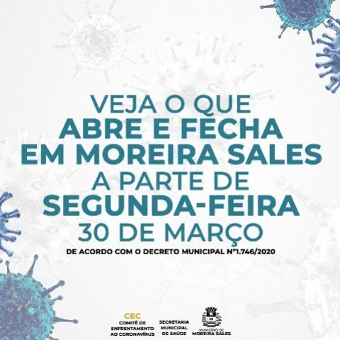 Confira aqui o que abre e fecha a partir desta segunda-feira, 30 em Moreira Sales