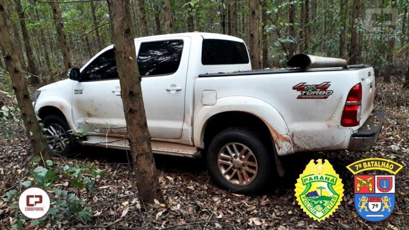 Hilux roubada em Juranda foi encontrada em estrada rural próximo ao trevo de acesso a Mariluz